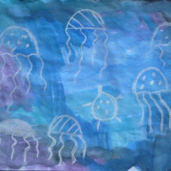 Watercolor & chalk jellyfish!