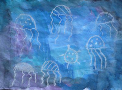 Watercolor & Chalk Jellyfish
