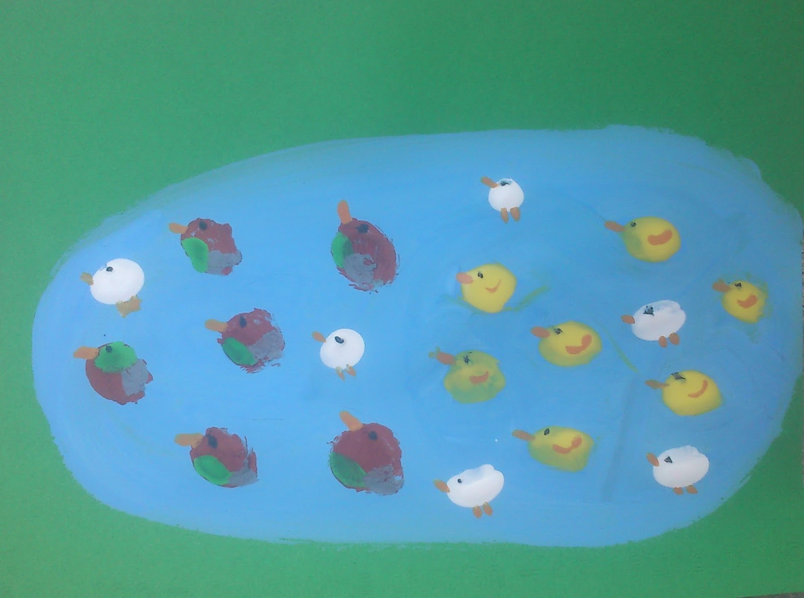 Pond Of Thumbprint Ducks Fun Family Crafts