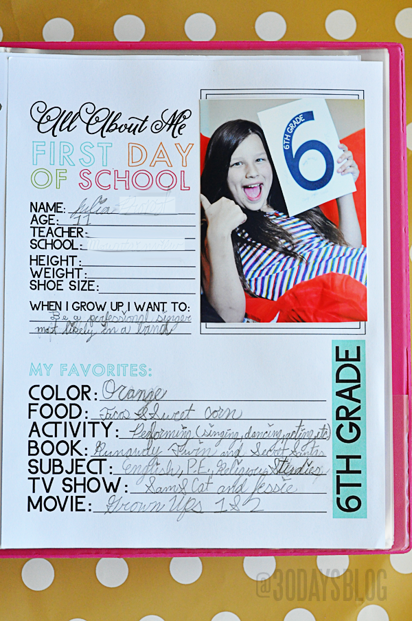 All About Me Printable School Binder