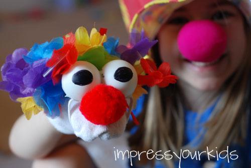 Circus Clown Sock Puppet