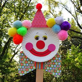 Paper Plate Clown Puppet