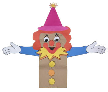 clown paper bag puppet fun family crafts