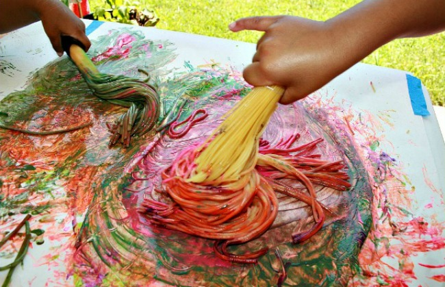 Spaghetti Broom Painting Fun Family Crafts