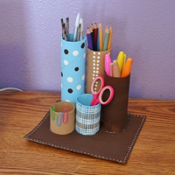 Recycled Cardboard Tube Desk Caddy