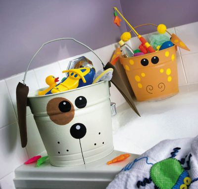 Dog and Giraffe Toy Buckets