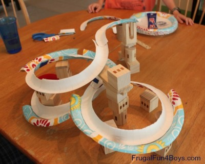 Paper plate marble track fun family crafts for Craft model with waste material