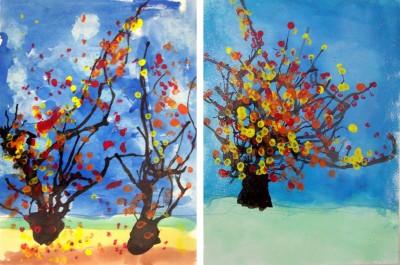 Straw Blown Fall Trees