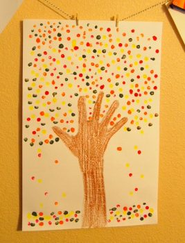 Handprint Trees and Colorful Leaves