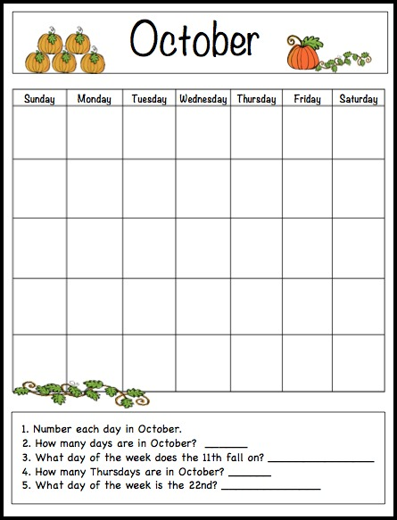 October Calendar Kindergarten : October learning calendar fun family crafts