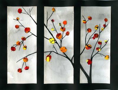 Eggshell Art - Fall Tree