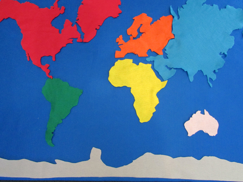 World Map Felt Board