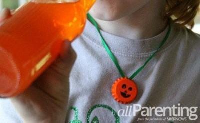 Pumpkin Bottle Cap Necklace
