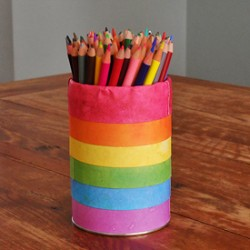 Rainbow Pencil Holder Can