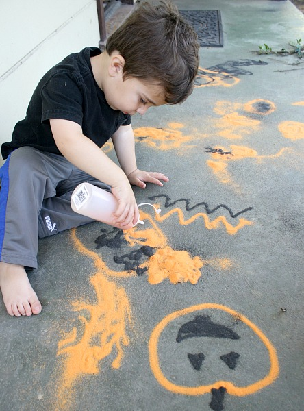 Halloween Art: Drawing with Colored Sand