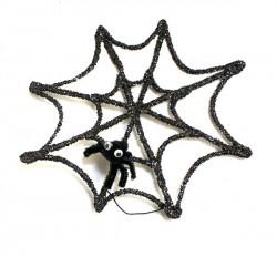Glittery Spiderweb & Pompom Spider
