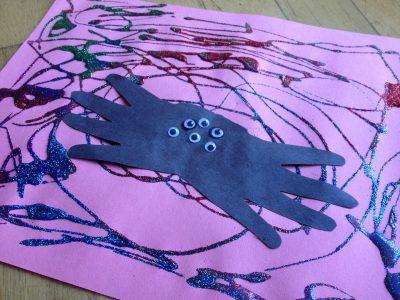 Glitter Spider Web Art