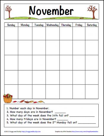 November Learning Calendar
