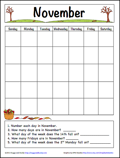 November Learning Calendar | Fun Family Crafts