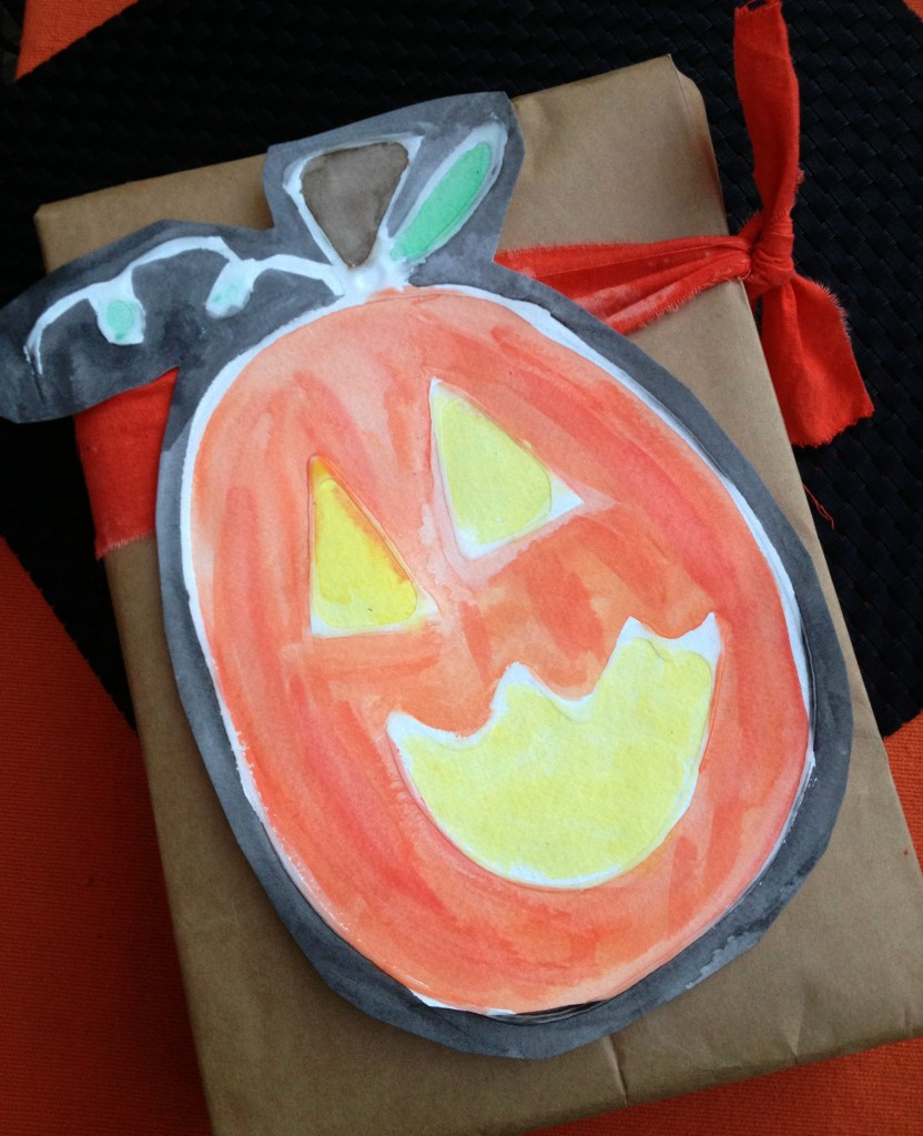 Glue and Watercolor Jack o'Lantern