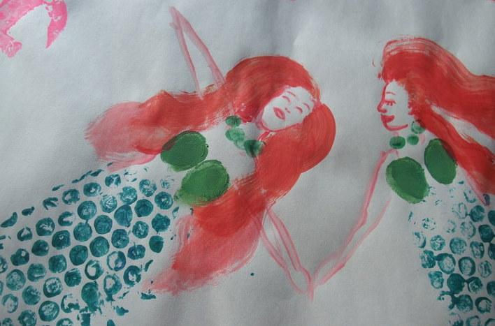 Fingerprints & Bubble Wrap Mermaids