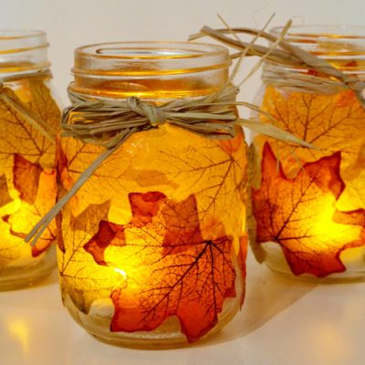 Modern christmas home decor - Autumn Leaf Mason Jar Candle Holders Fun Family Crafts