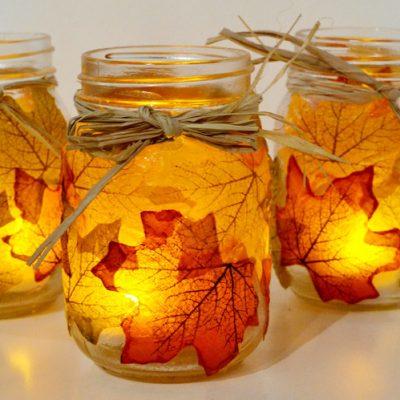 Modern christmas home decor - Autumn Leaf Mason Jar Candle Holders Fun Family Crafts