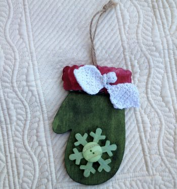 Dyed Wooden Mitten Ornament