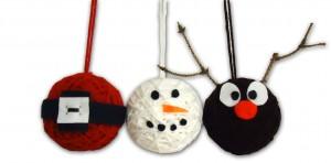 Santa, Snowman and Reindeer Ornaments