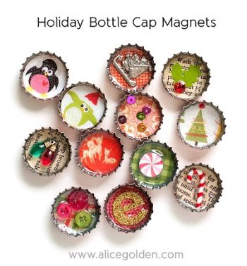 Holiday Bottle Cap Magnets