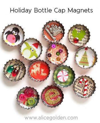 Holiday Bottle Cap Magnets