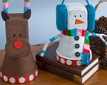 Clay Pot Reindeer and Snowman