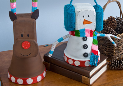 Clay Pot Reindeer And Snowman Fun Family Crafts