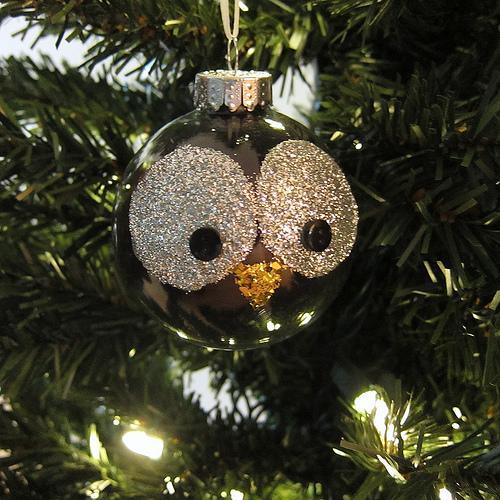 Glitter Owl Ornament