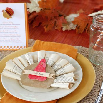 Book Page Turkey Place Card