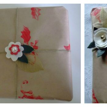 Stamped Christmas Gift Wrap