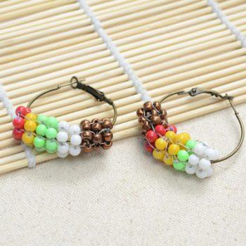 Native American Beaded Hoop Earrings