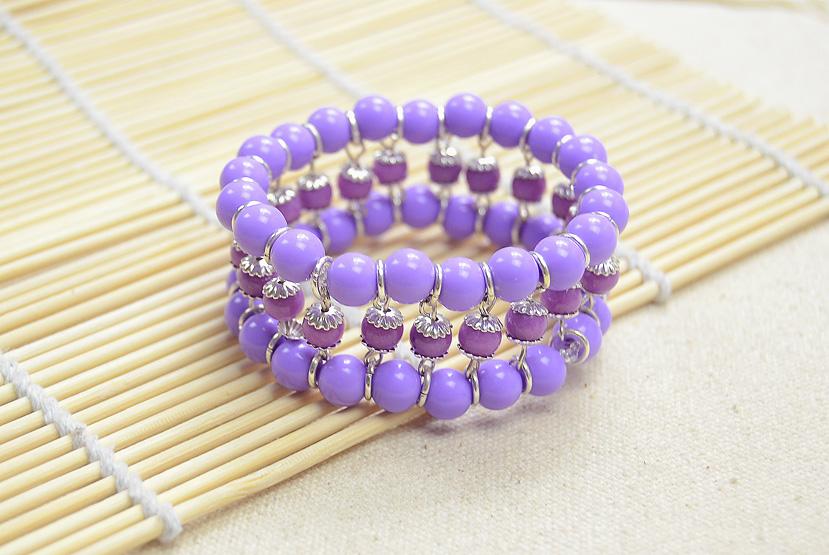 Delicate Purple Beaded Cuff Bracelet
