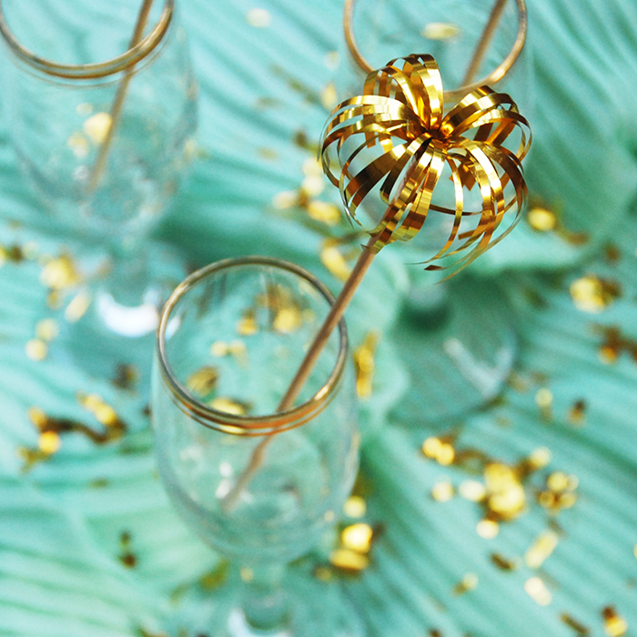 New Year Tinsel Foil Stirrers