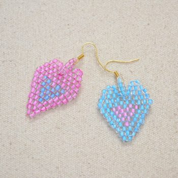 Heart-in-heart Brick Stitch Earrings