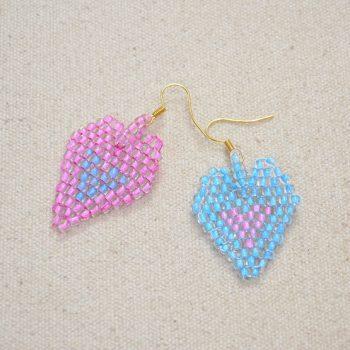 Heart-in-heart Brick Stitch Earrings