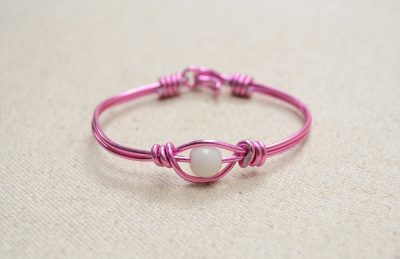 Wire Wrapping Valentine's Pink Bangle Bracelet