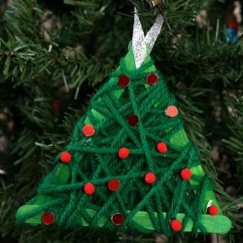 Yarn Wrapped Christmas Tree Ornament