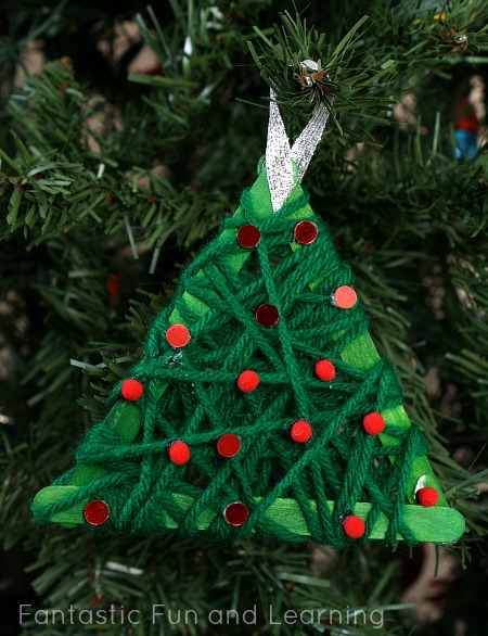 Yarn Wrapped Christmas Tree Ornament Fun Family Crafts