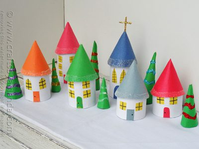 Cardboard Tube Christmas Village