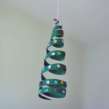Cardboard Tube Coiled Christmas Tree Ornament