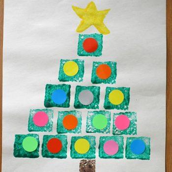 Sponge Painted Shape Christmas Trees