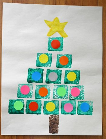 Sponge Painted Shape Christmas Trees