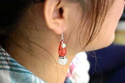 Dangle Santa Hat Earrings