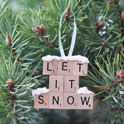 Scrabble Tile Ornament - Let It Snow